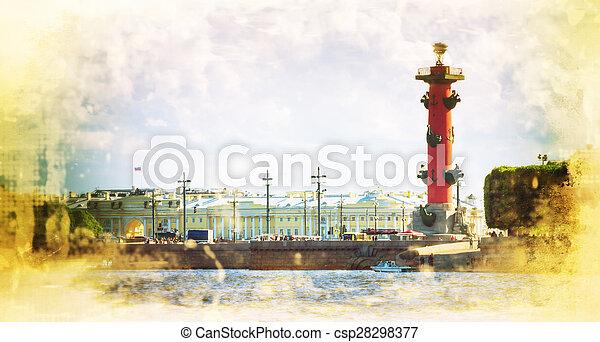 Columnas rosales en la saliva de la isla Vasilievsky fuera de la vieja bolsa de San Petersburgo, San Petersburgo - csp28298377