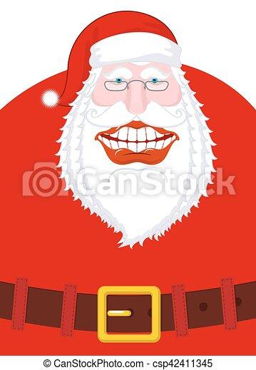 Feliz Santa Claus ríe. Sonrisa amplia y cinturón. Boca grande. Feliz Navidad, viejo. Planta de diseño de Navidad. Ilustración para el año nuevo - csp42411345