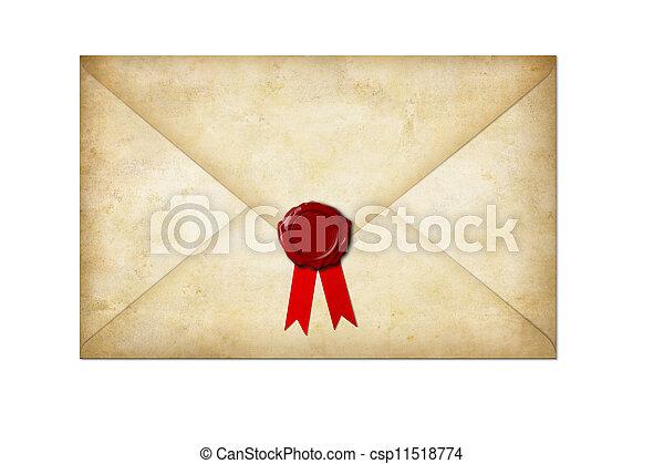 viejo, sello, aislado, arco, papel, carta, cera, blanco - csp11518774
