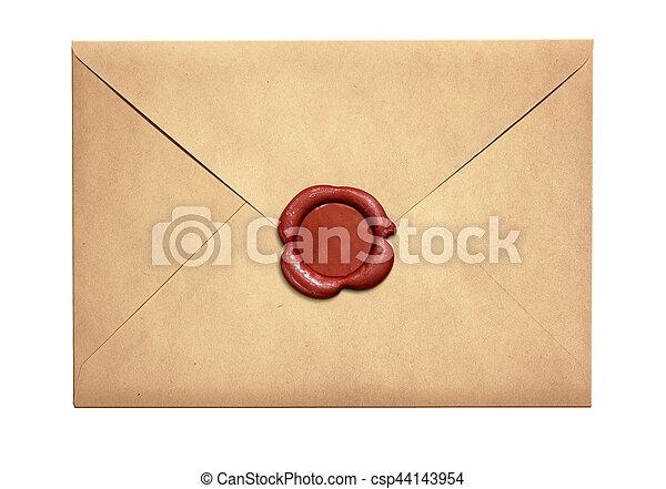 viejo, sello, sobre, aislado, carta, cera, rojo - csp44143954