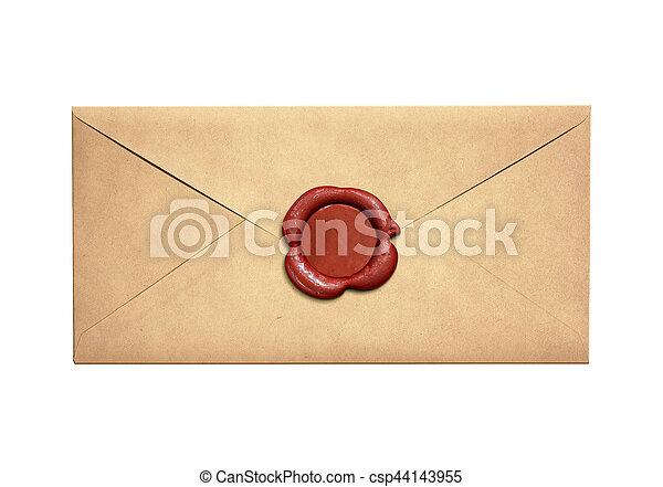 viejo, sello, sobre, aislado, carta, cera, estrecho, rojo - csp44143955