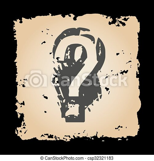 Papel retro andrajoso con signo de interrogación Eps10 - csp32321183