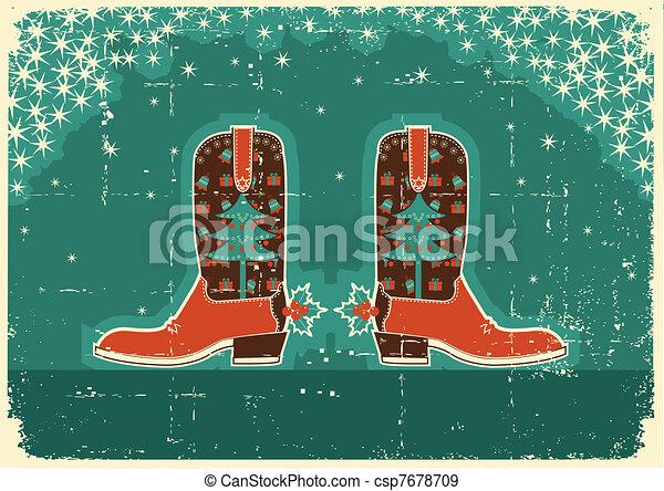 Tarjeta de Navidad con botas y decoración navideña en la textura de papel antiguo - csp7678709