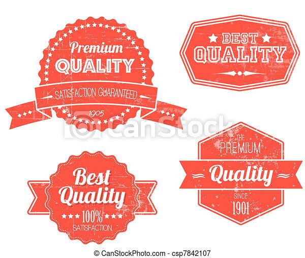 Viejas etiquetas de grunge de color rojo retro - csp7842107