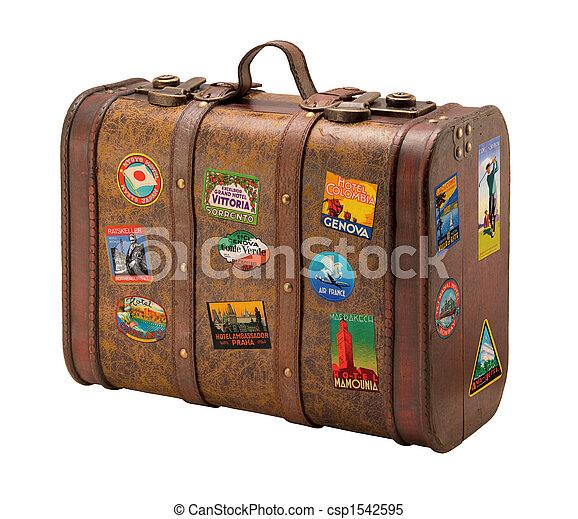 Una vieja maleta con etiquetas de viaje gratis - csp1542595