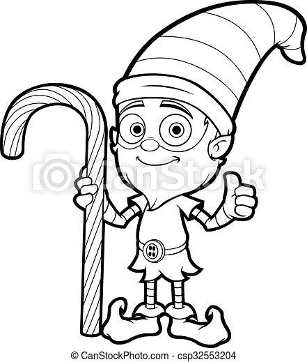 Un Viejo Elfo En Blanco Negro Una Ilustracion De Dibujos Animados