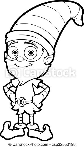 Un Viejo Elfo En Blanco Negro Una Ilustración De Dibujos