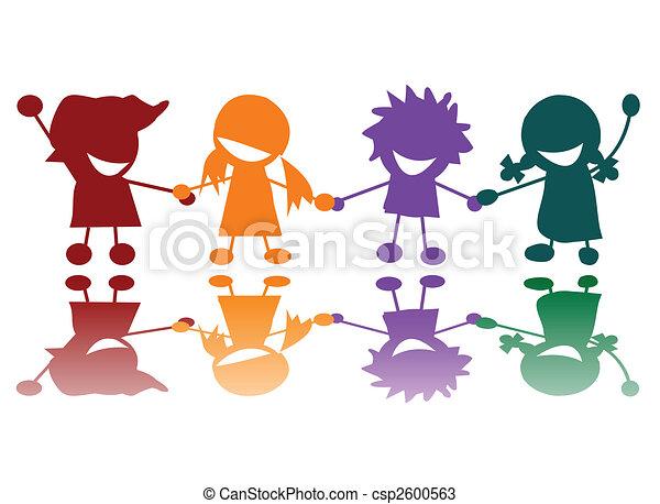 Viele farben, kinder, glücklich. Glücklich, vektor, kunst ...