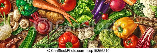 Viele Gemüse auf einem Tisch - csp15356210