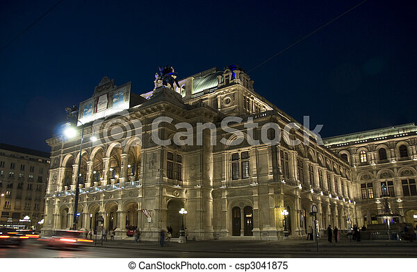 La ópera de Viena, iluminada por la noche - csp3041875