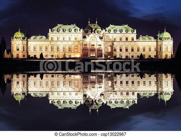 Vienna at night - Belvedere Palace, Austria - csp13022967