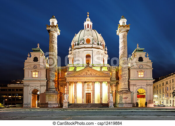 Vienna at night - St. Charles's Church - Austria - csp12419884