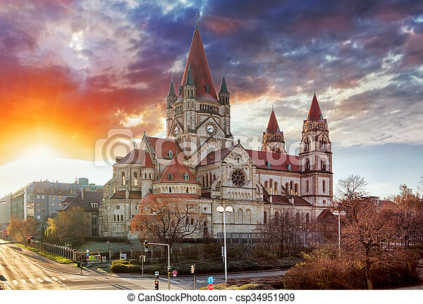 Vienna - St. Francis of Assisi Church, Mexikoplatz - csp34951909
