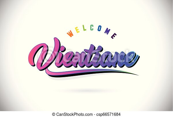 Vientiane Welcome To Word Text with Creative Purple Pink Handwritten Font and Swoosh Shape Design Vector. - csp66571684
