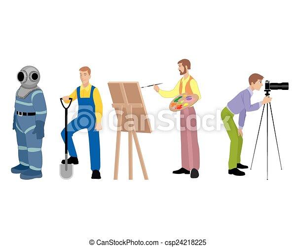vier, beroepen, set - csp24218225