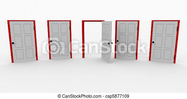 Eine offene Tür und vier geschlossen - csp5877109