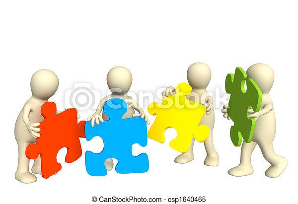 Vier Marionetten, die in Händen halten ein Rätsel - csp1640465