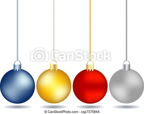 vier, set, kerstballen, hangend - csp7375844