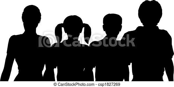 vier, silhouette, gezin - csp1827269