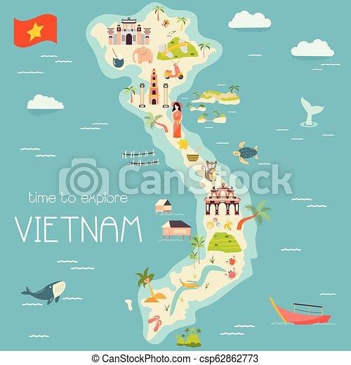 Vietnam cartoon map with destinations. elements