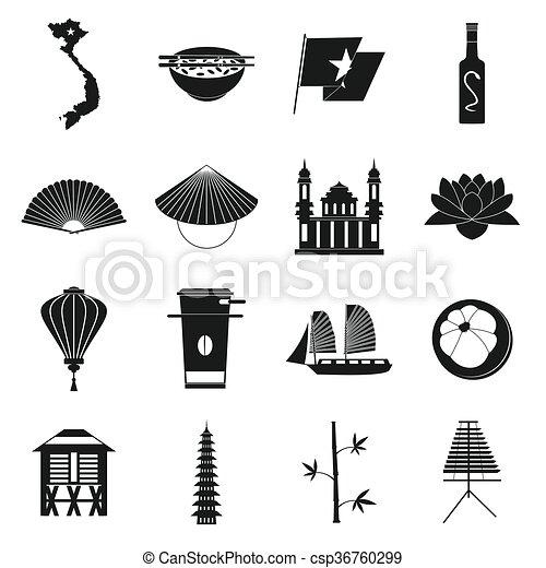 Vietnam icons set, simple style - csp36760299