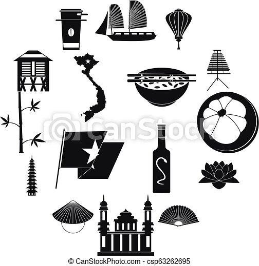 Vietnam icons set, simple style - csp63262695