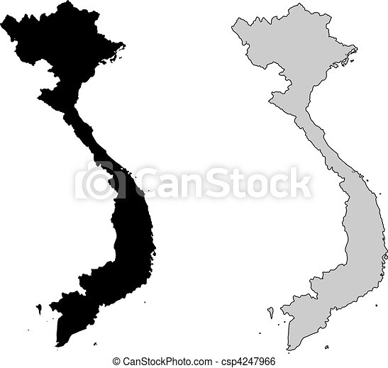 Vietnam map. Black and white. Mercator projection. - csp4247966