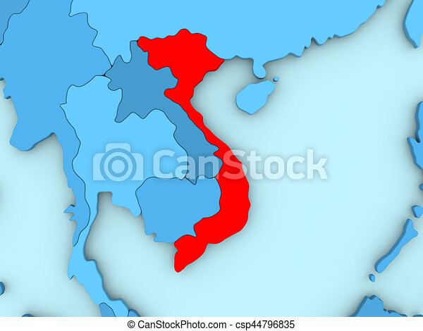 Vietnam On 3d Map Country Of Vietnam Highlighted In Red On Blue Map 3d Illustration