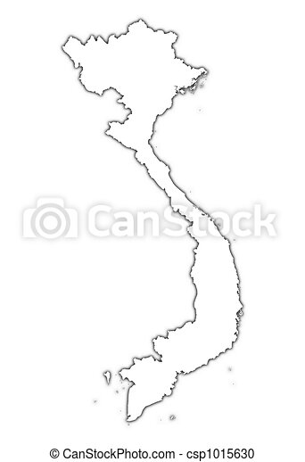 Vietnam Outline Map With Shadow Detailed Mercator Stock - Vietnam map outline