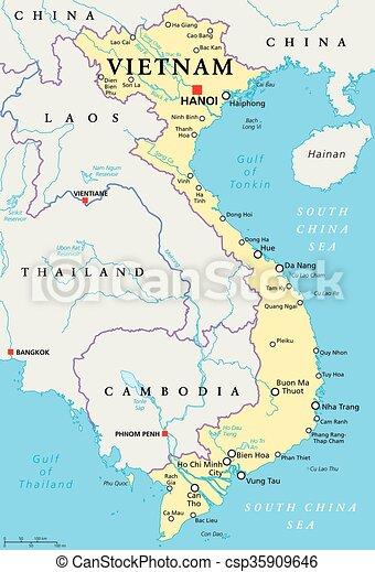 Vietnam political map. Vietnam political map with capital hanoi ...