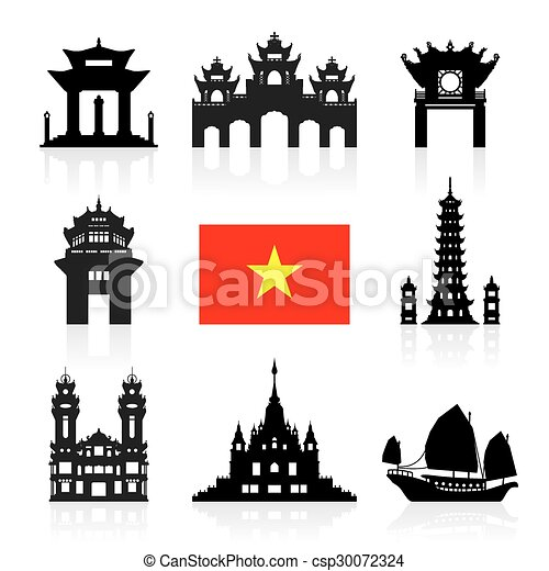 vietnam travel landmarks vector and illustration