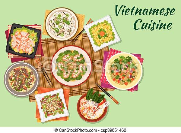 Vietnamese cuisine oriental dishes icon. Vietnamese cuisine seafood on
