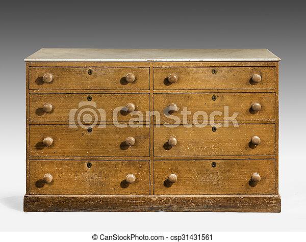 Vieux bois vendange pin original peint poitrine bureau