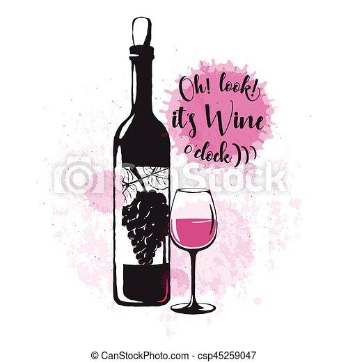 vieux, boisson, quote., typographique, apparenté, vecteur, conception, illustration, logo, vin