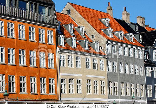 vieux, classique, nyhavn, danemark, architecture, copenhague - csp41848527