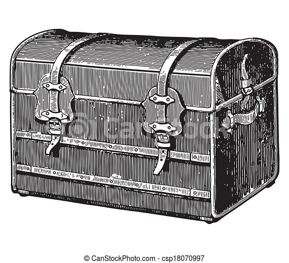 Gravure style ancien vieux coffre illustration de - Coffre dessin ...
