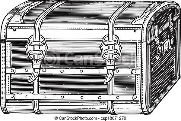 Gravure style ancien vieux coffre - Coffre dessin ...