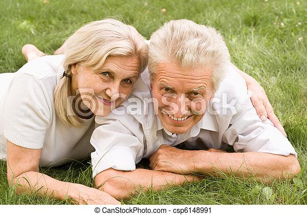 vieux, couple, parc - csp6148991
