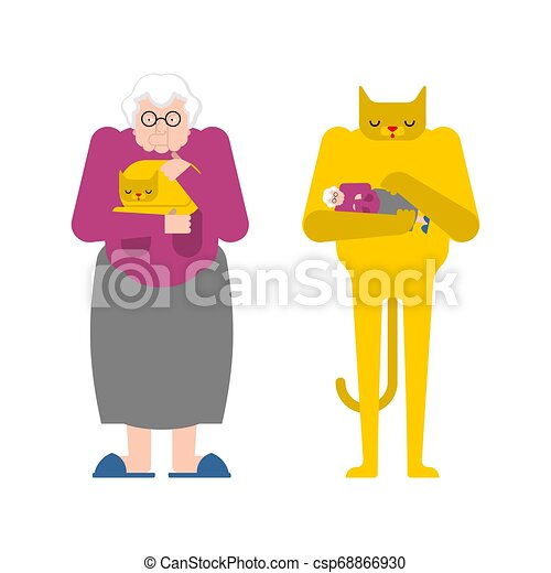 vieux, coups, pet., chat, grand-mère, grand-maman, contrary., mains, chaton, dame - csp68866930