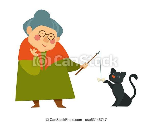 vieux, elle, chat, noir, grand-maman, sourire, dame, jouer - csp63148747