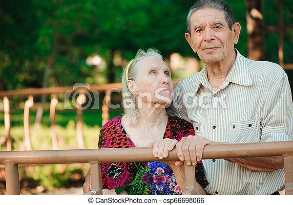 vieux, ensoleillé, couple, parc, day., heureux - csp66698066