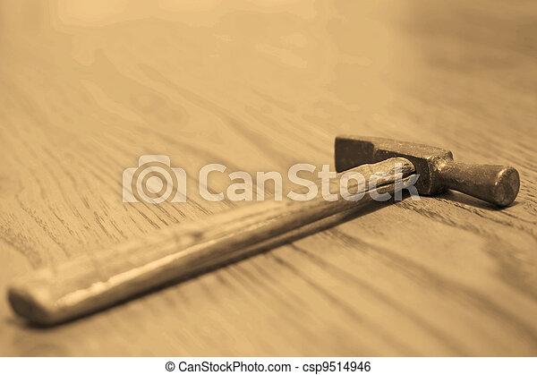 vieux, hammer., sepia. - csp9514946