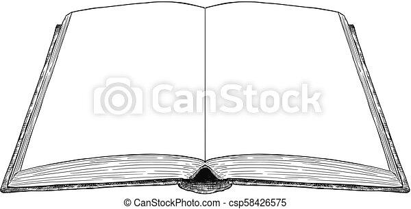 Vieux Illustration Dessin Vecteur Artistique Livre Ouvert