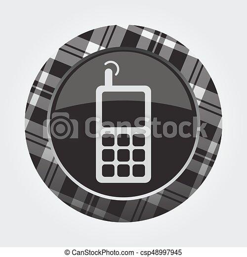 vieux, mobile, bouton, -, téléphone, noir, blanc, tartan, icône - csp48997945