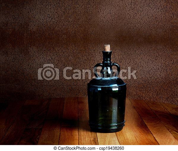 vieux, poussiéreux, vendange, bois, bouteille, table - csp19438260