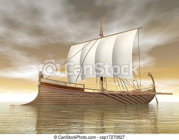 vieux, render, -, grec, bateau, 3d - csp17270827