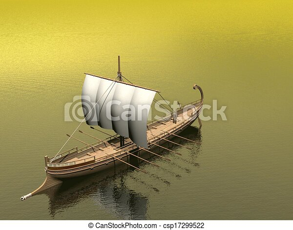 vieux, render, -, grec, bateau, 3d - csp17299522