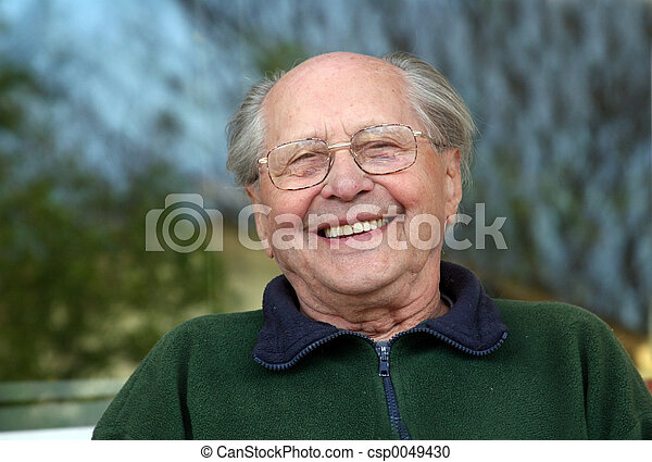 vieux, rire, homme - csp0049430