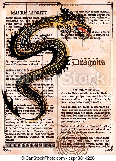 vieux, vendange, dragon, livre, furieux, dessin, page - csp43814226