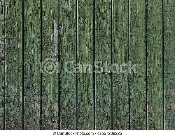 vieux, vertical, peint, partie, porte verte, planches, grange - csp57239225